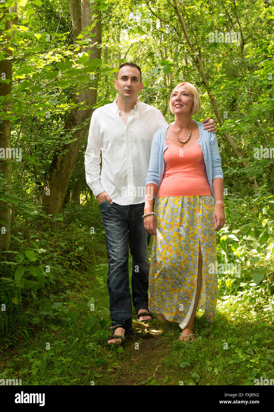 younger man with older woman - Stock Image