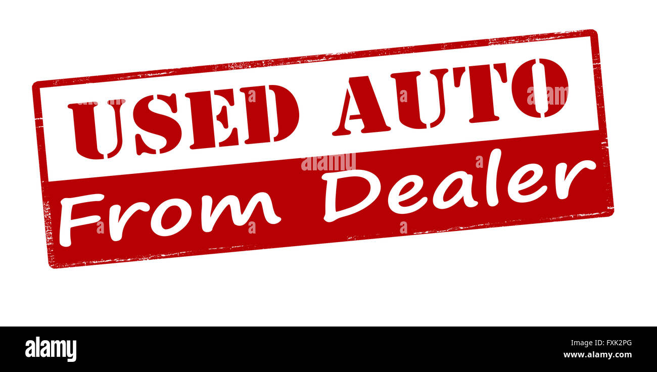 Rubber stamp with text used auto from dealer inside, vector illustration - Stock Image