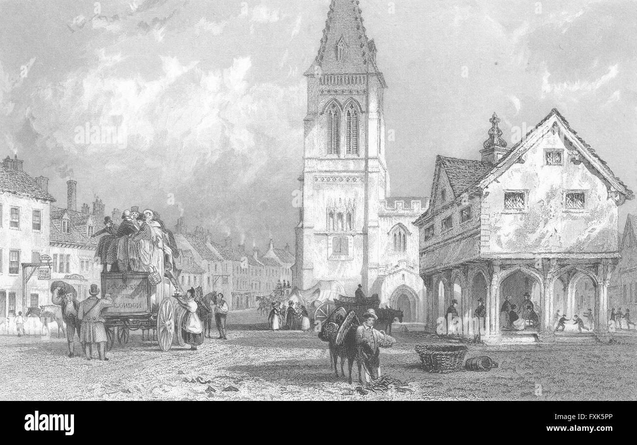 LEICS: Market Harborough, Leicestershire: Allom, antique print 1836 - Stock Image