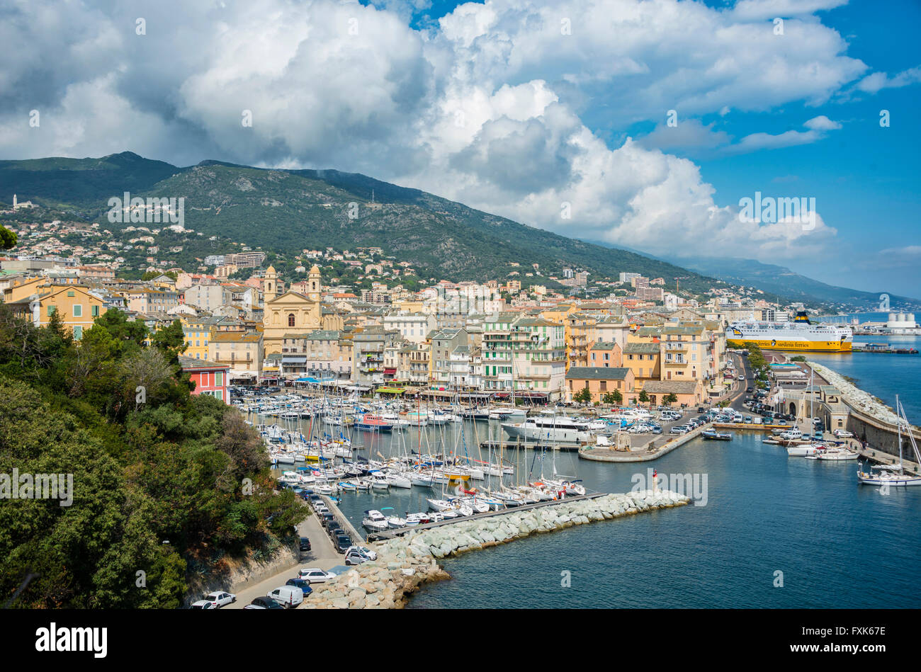 Old port, Vieux port, Port de Plaisance, marina with the church Saint Jean Baptiste, Bastia, Haute-Corse, North Stock Photo