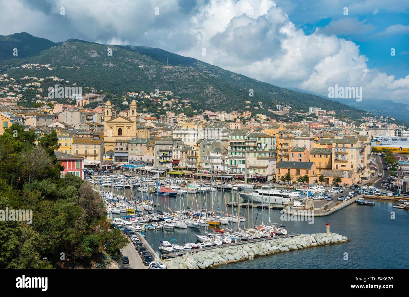 Old port, Vieux port, Port de Plaisance, marina with the church Saint Jean Baptiste, Bastia, Haute-Corse, North - Stock Image