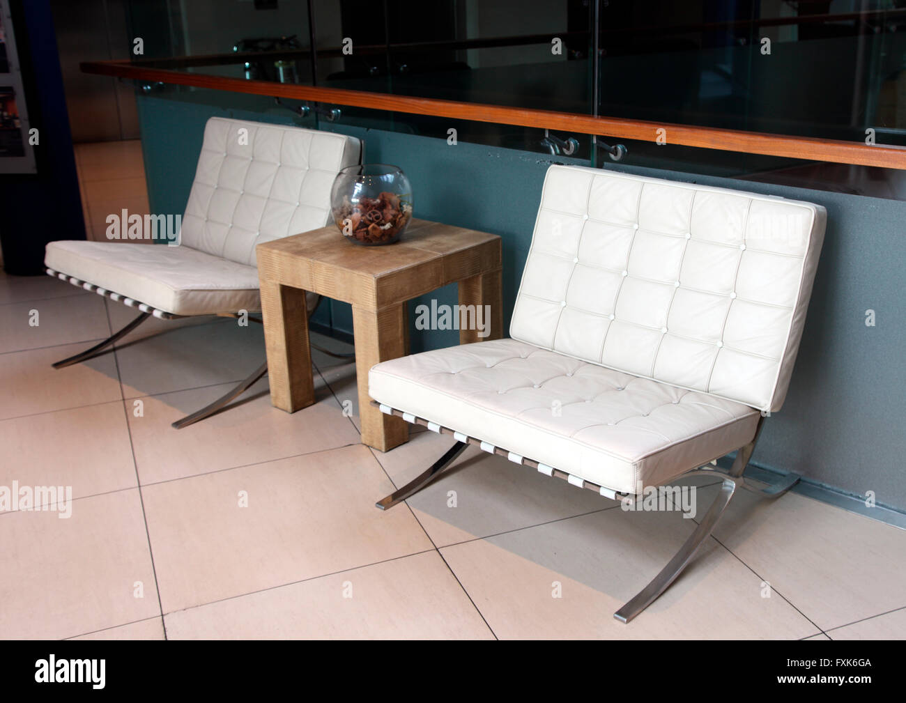 Barcelona Chairs In The Absolute Hotel Limerick Stock Photo