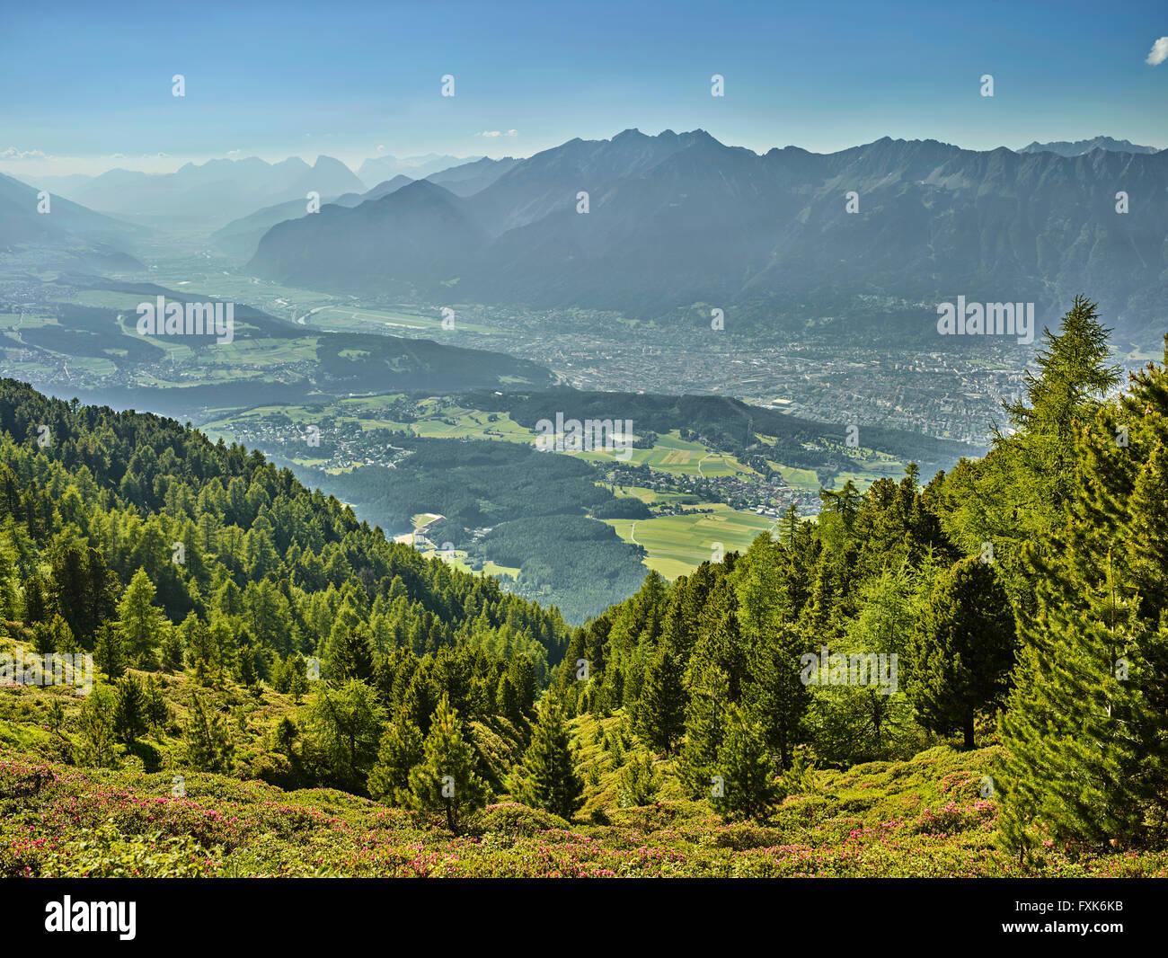 View of the Inn Valley and Innsbruck from Zirbenweg, Patscherkofel, Innsbruck, Tyrol, Austria - Stock Image