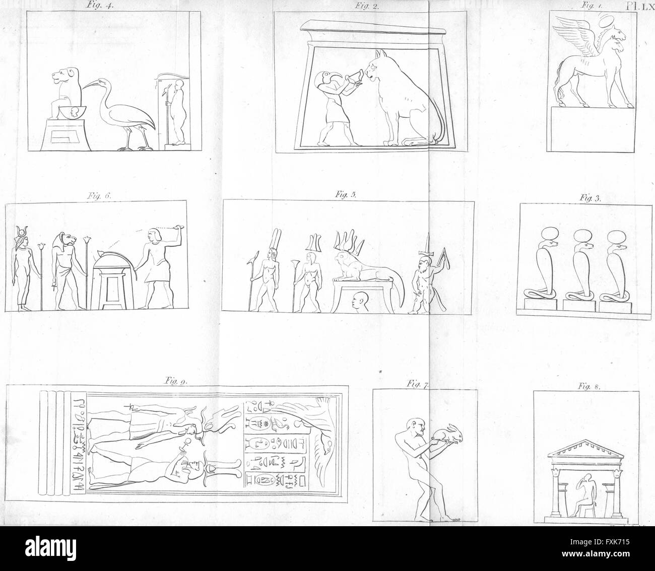 EGYPT: Pharoes hieroglyphs hieroglyphics, antique print c1800 - Stock Image