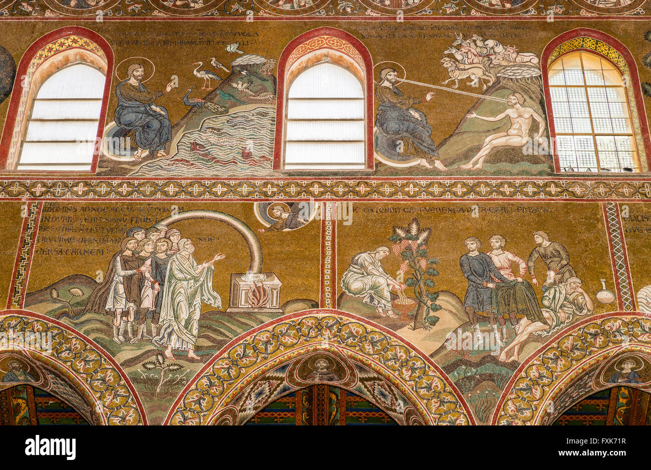 Byzantine mosaics, God creates life, animals and humans, below God's Covenant with Humanity, Drunkenness of Noah, - Stock Image