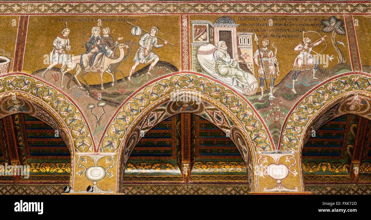 Byzantine mosaics, Rebekah and Isaac and Esau travel, northern wall of the central nave, Old Testament, Monreale - Stock Image
