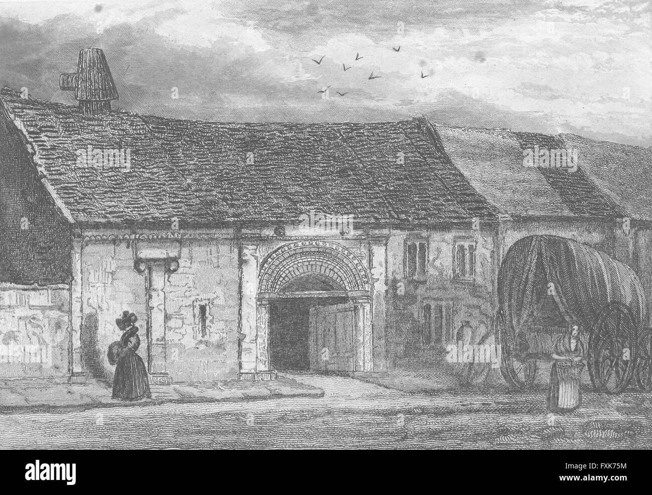 LINCOLN: John of Gaunt's Stables: STABLE: Saunders, antique print 1836 - Stock Image
