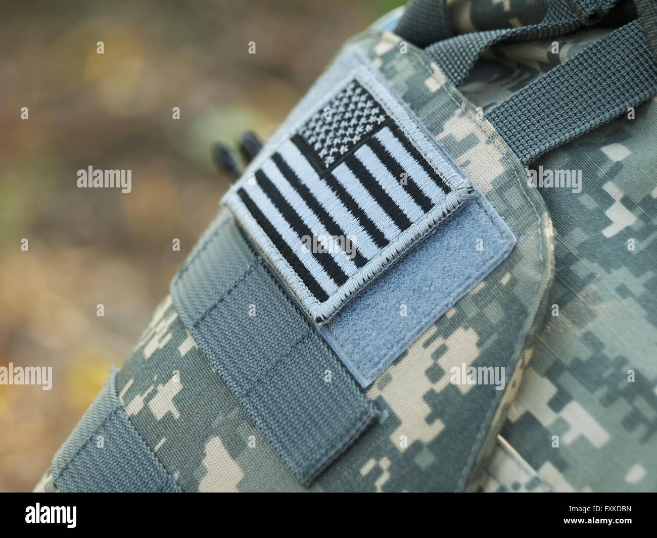 US Army uniform element - sleeve patch with flag (ACU pattern) - Stock Image