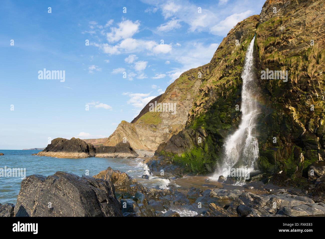 Waterfall at Tresaith Beach, Cardigan Bay, Wales. - Stock Image