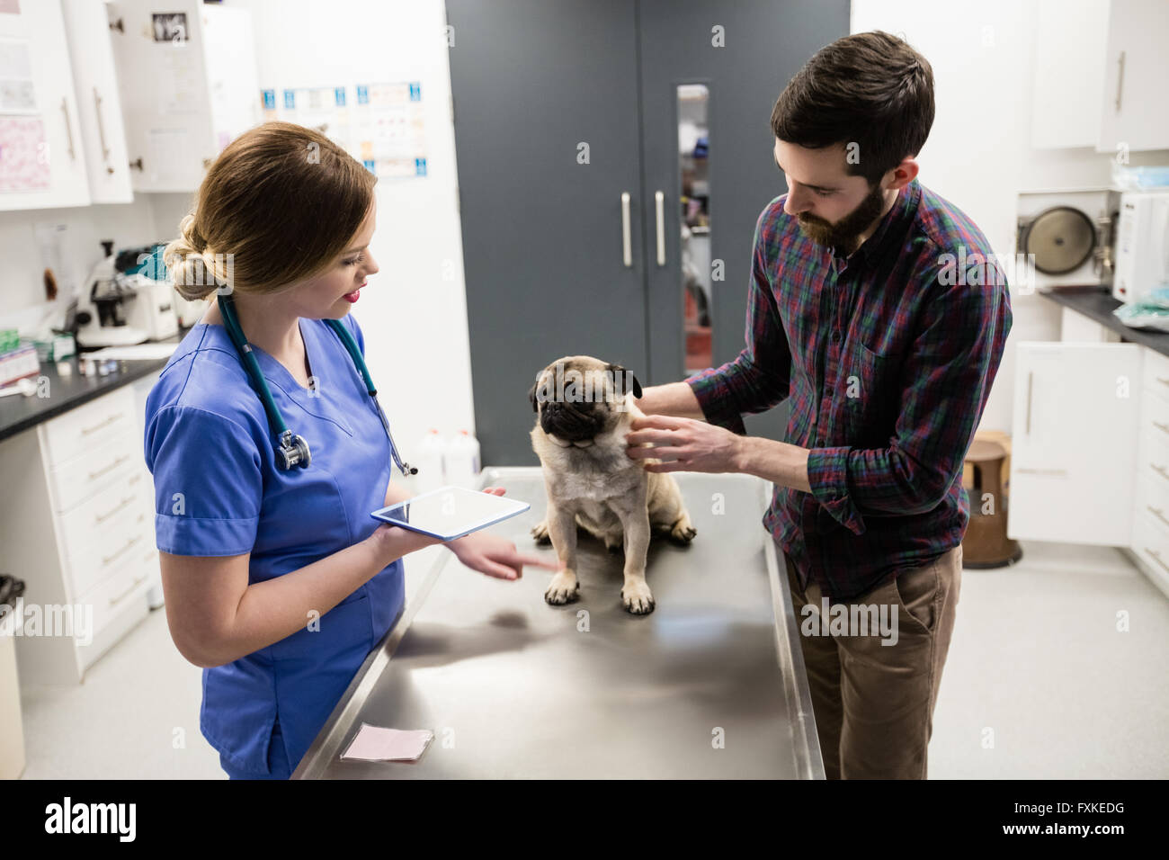 Vet examining dog with its owner - Stock Image