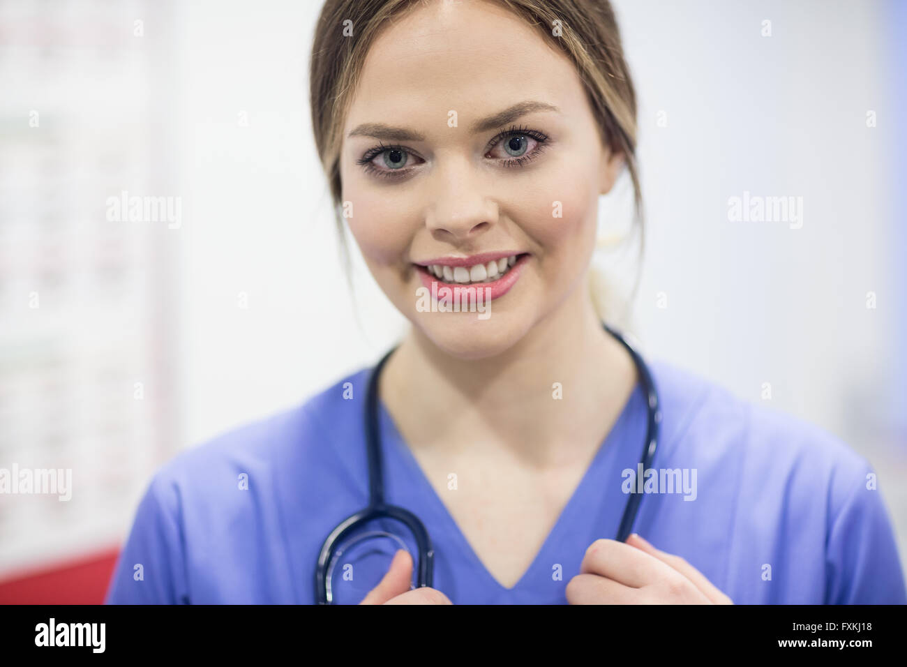 Portrait of vet in clinic - Stock Image