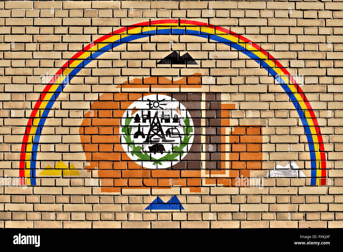 flag of Navajo Nation painted on brick wall - Stock Image