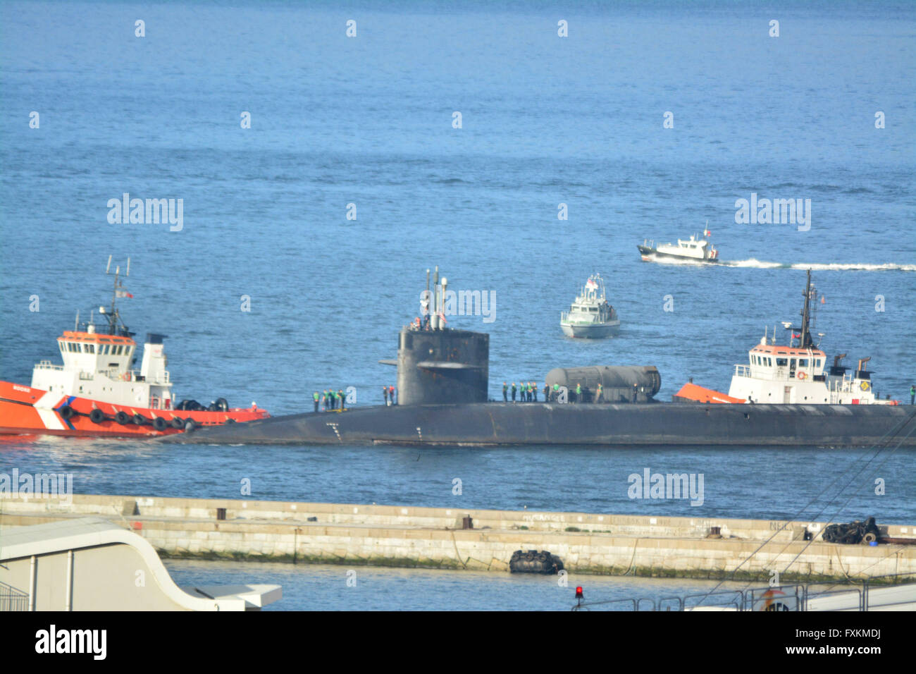 Gibraltar - 16th April 2016 - A US navy Ohio Class nuclear submarine arrived at the British Naval base in Gibraltar. - Stock Image