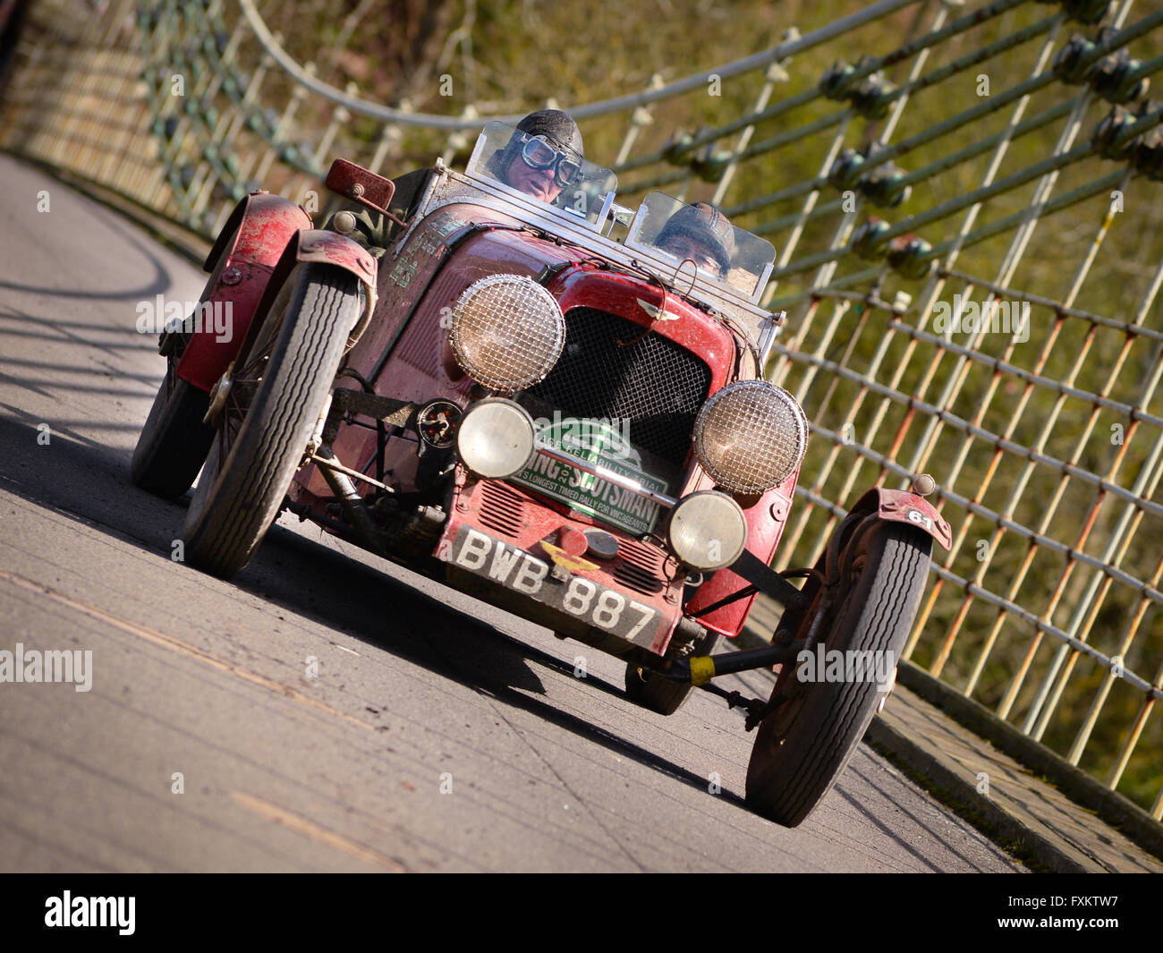 Scottish Border, UK. 16th April, 2016. 8th Flying Scotsman Rally. Alan Beardshaw and Peter Fletcher in 1934 Aston - Stock Image
