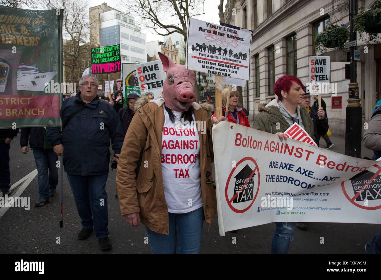 London, UK. 16th April, 2016. Pig masks mocking David Cameron at
