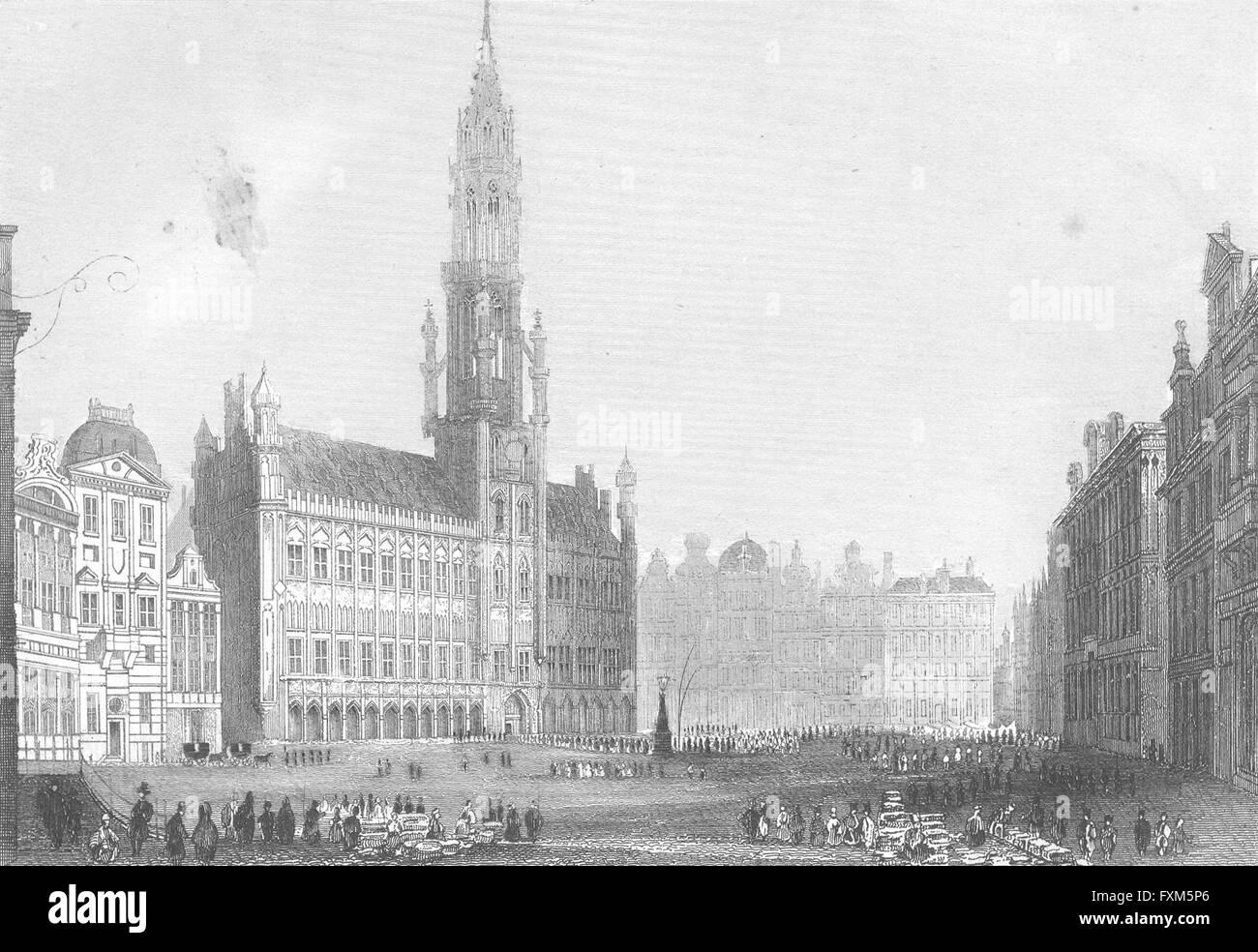 BELGIUM: Grosse Markt Brussel: Wolfe: Groose, antique print 1844 - Stock Image