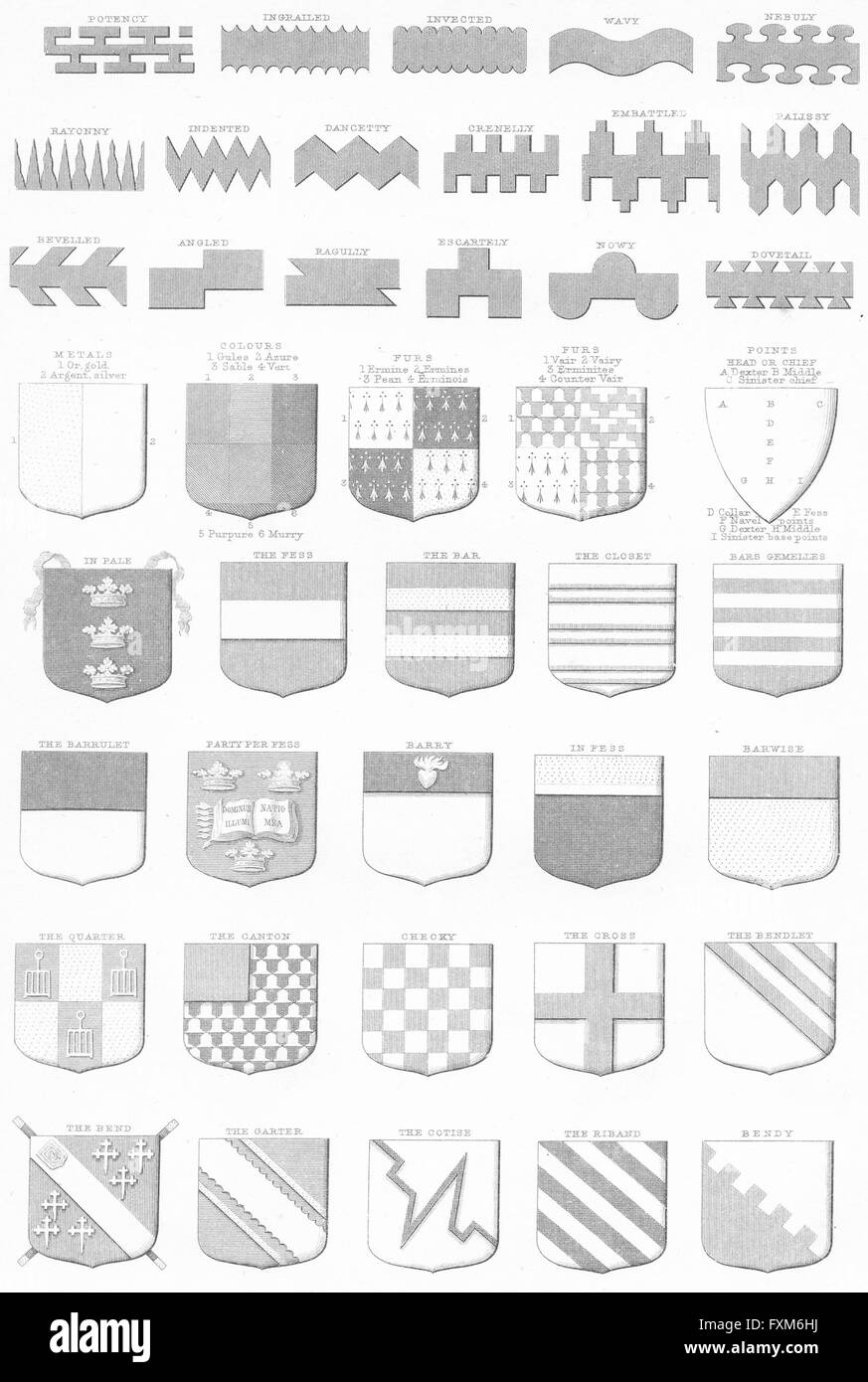 PEERS: Heraldry Charges in Blazonry I, antique print c1849 - Stock Image