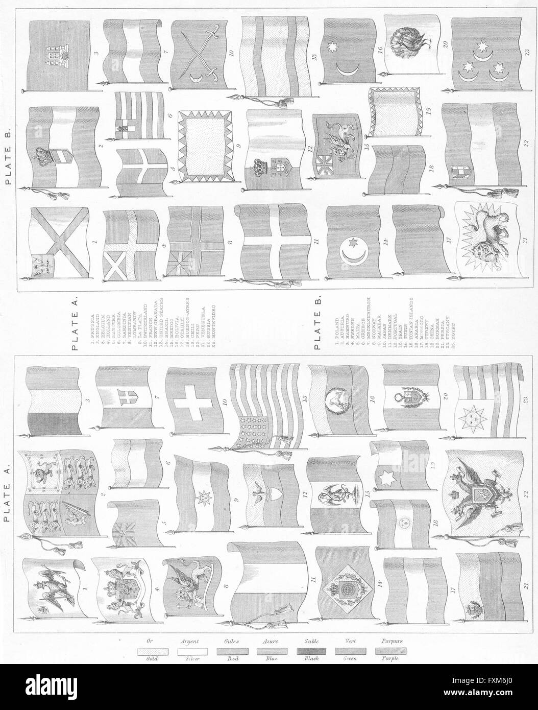 Heraldry: flags of all nations, antique print c1849 - Stock Image
