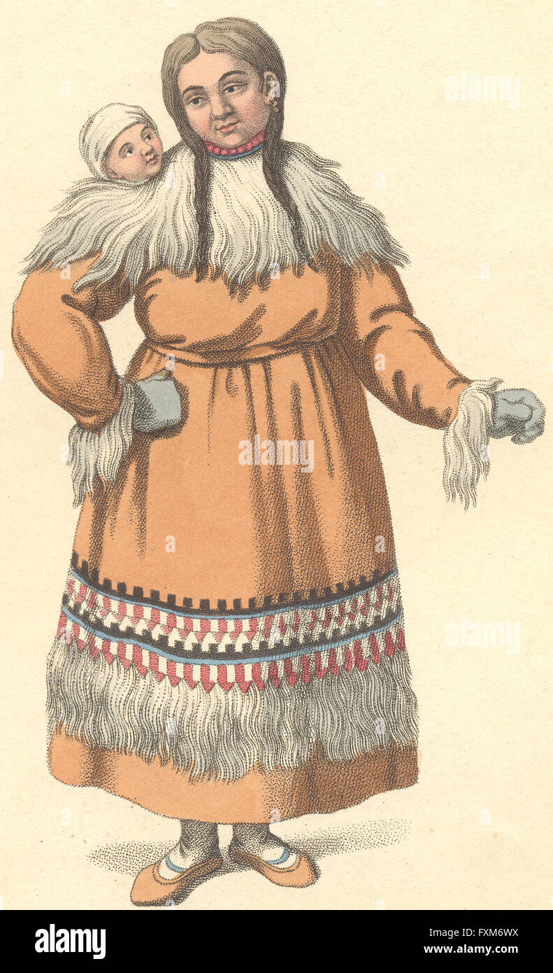 TRIBAL: Mother and baby, antique print 1803 - Stock Image