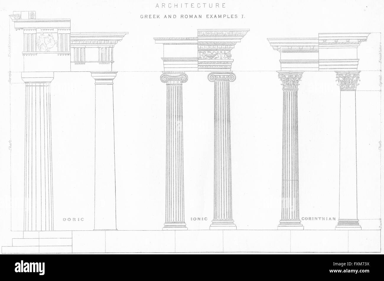 columns: greek roman doric ionic corinthian, antique print c1849