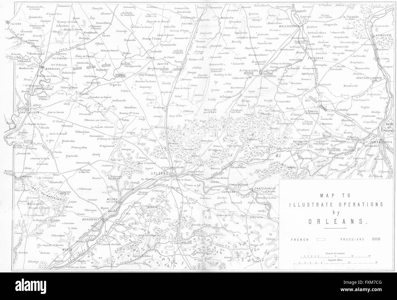 ORLEANS: operations map: Franco-Prussian war, 1875 - Stock Image
