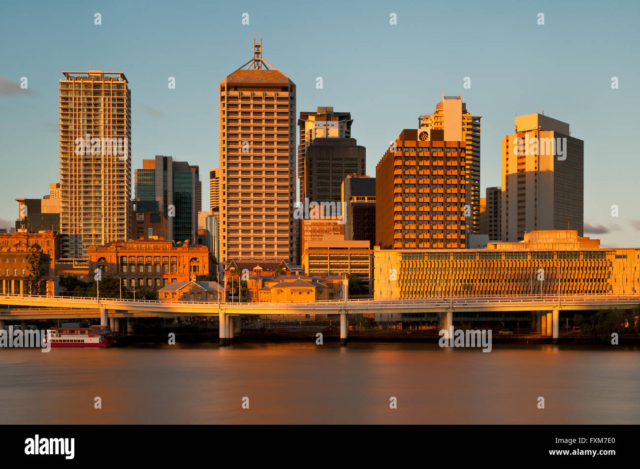 Brisbane River and the Central Business District in evening light. - Stock Image