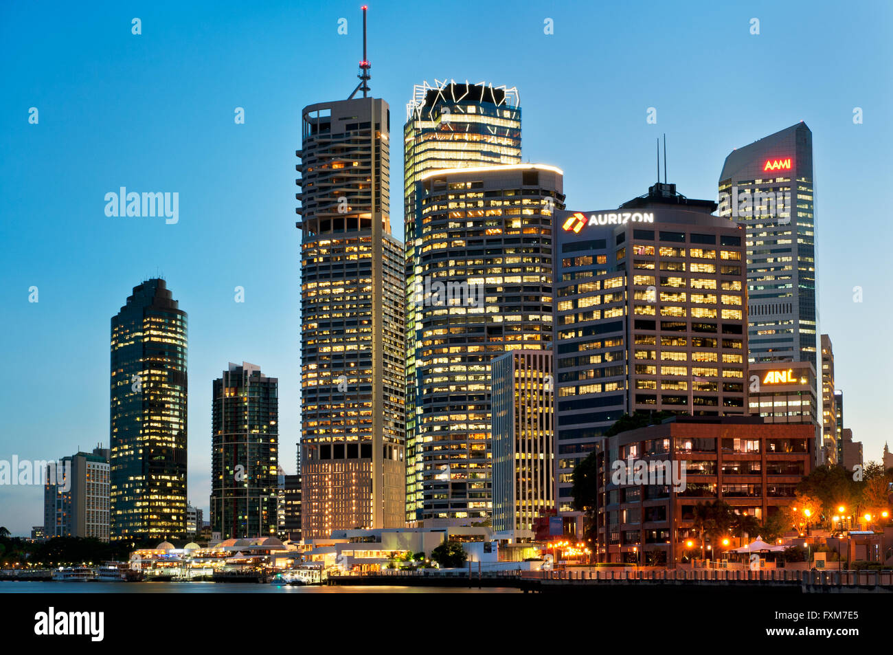 Brisbane skyline in evening light. - Stock Image
