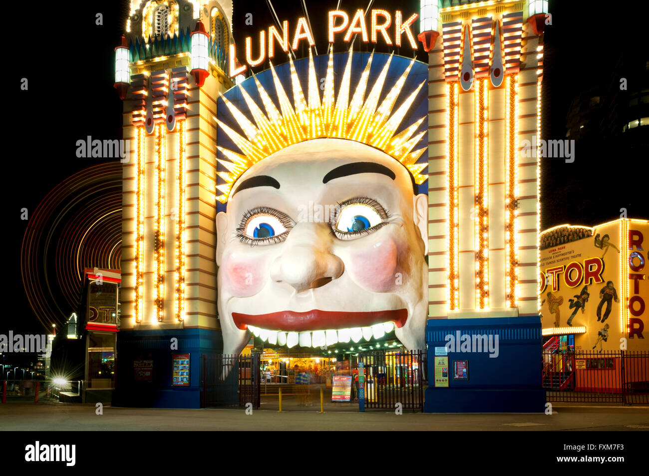Entrance of Sydney's famous Luna Park, right under the Harbour Bridge. - Stock Image