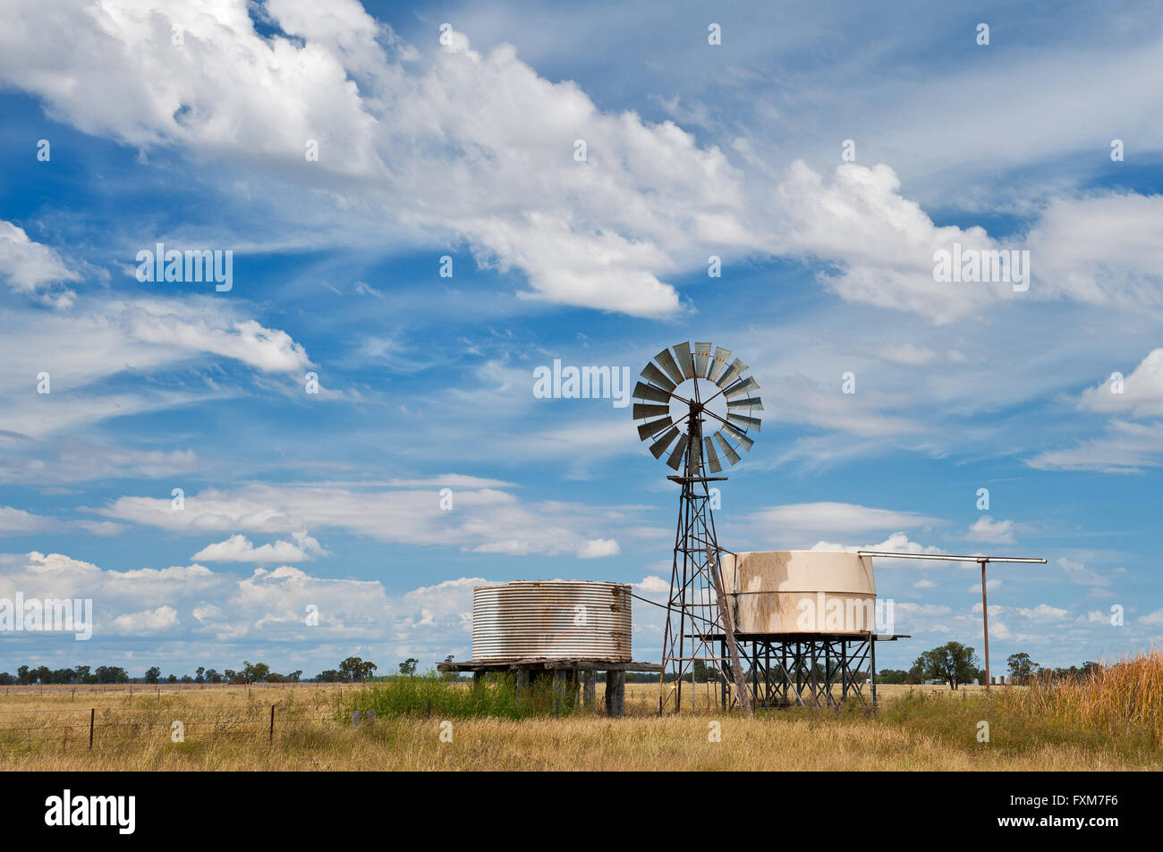 Windmill in Australia's Outback. - Stock Image