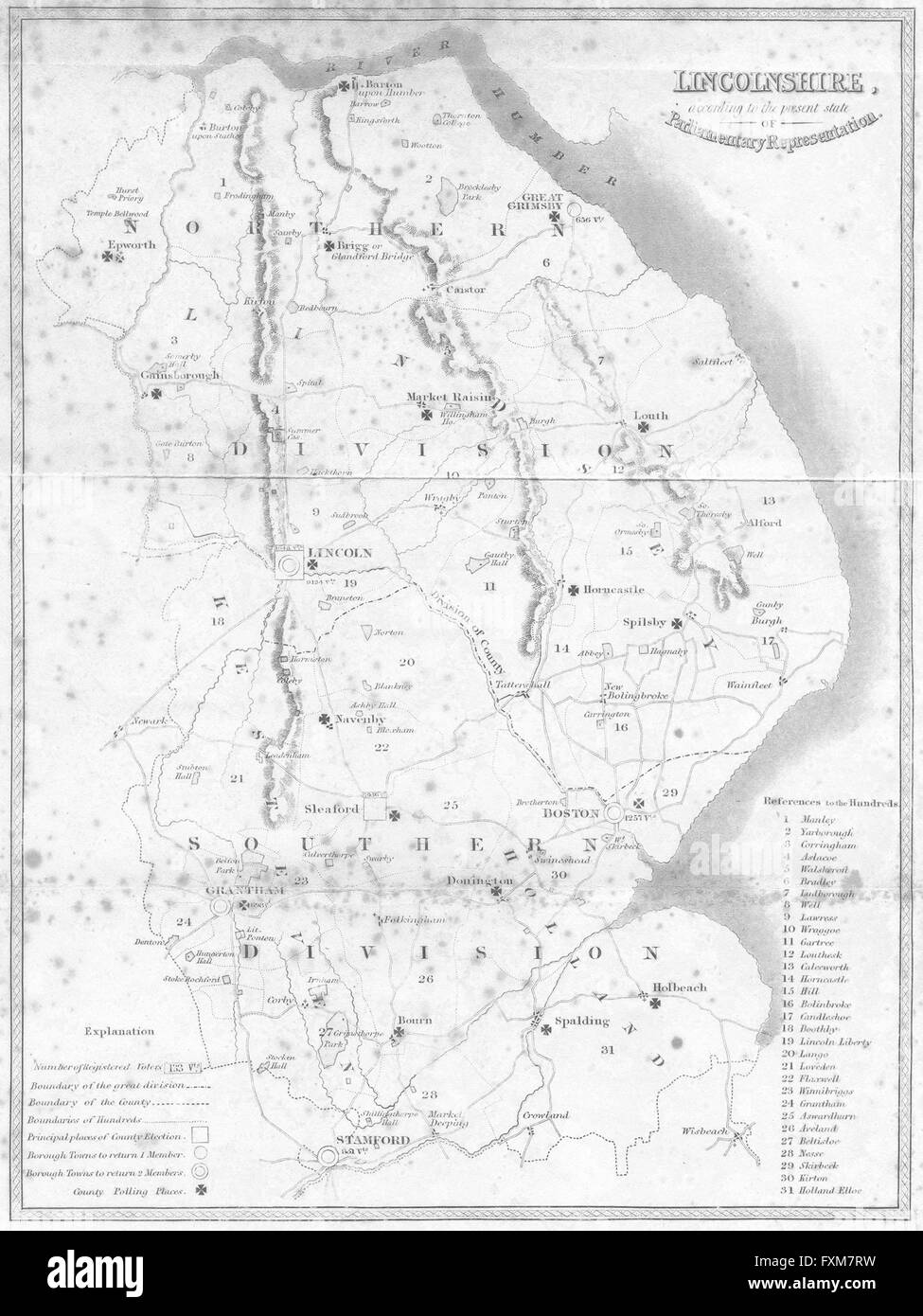 LINCOLNSHIRE: Parliamentary constituencies, 1836 antique map - Stock Image