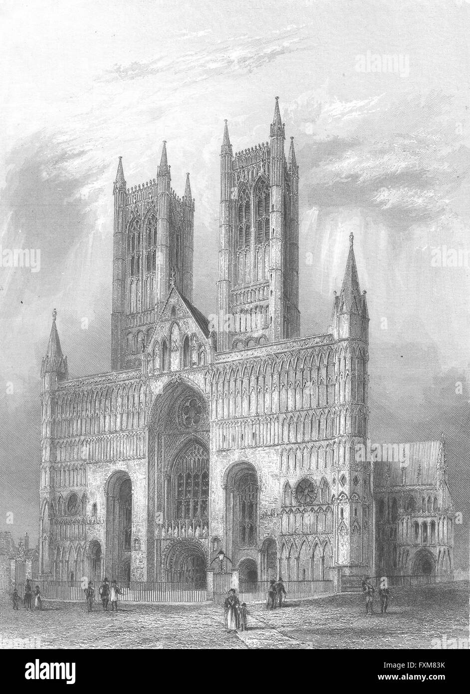 LINCS: Lincoln cathedral, antique print 1836 - Stock Image