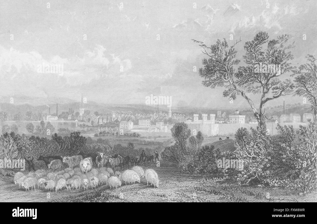 LEICS: Leicester, antique print 1836 - Stock Image