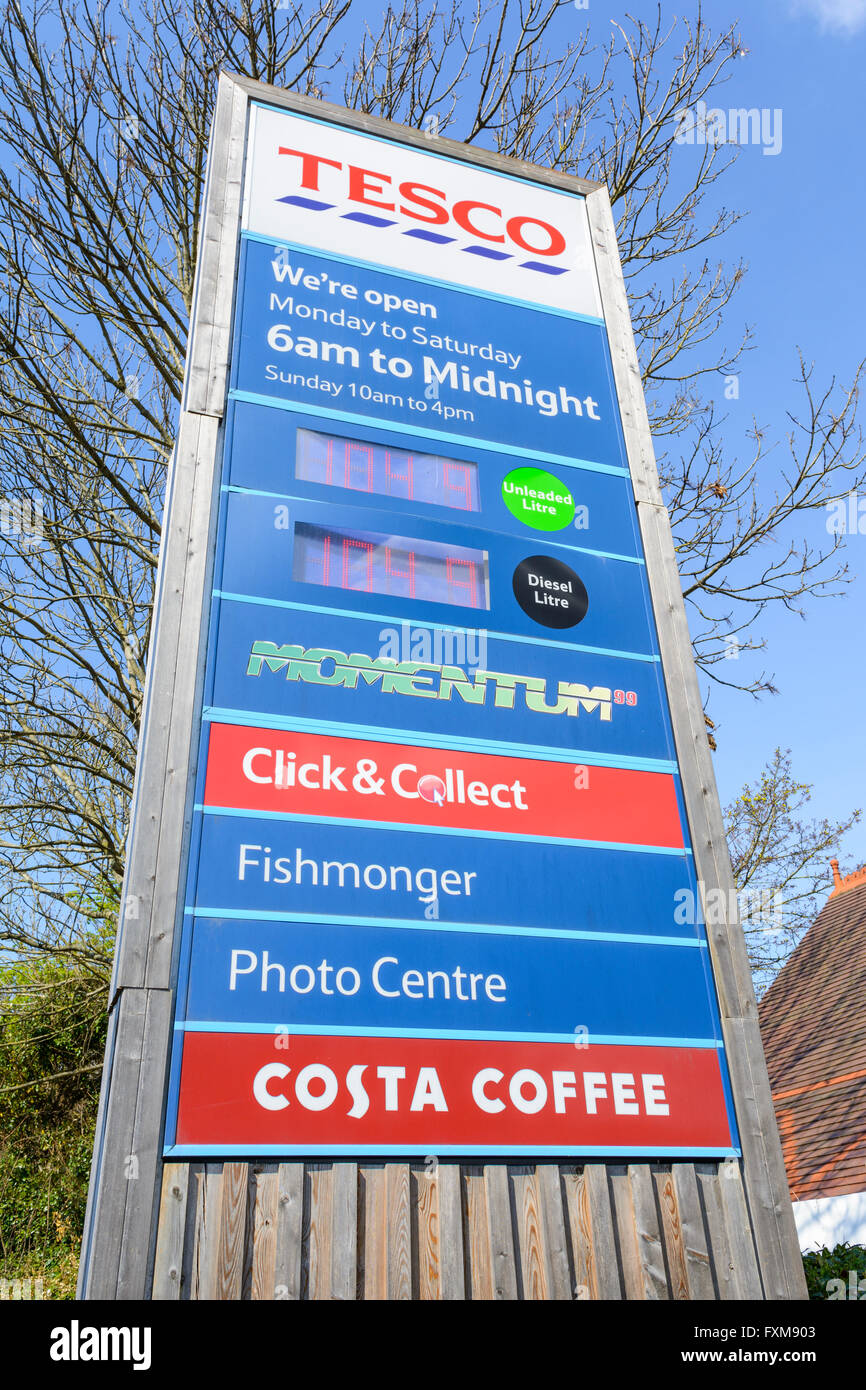 Tesco petrol station sign showing prices. - Stock Image