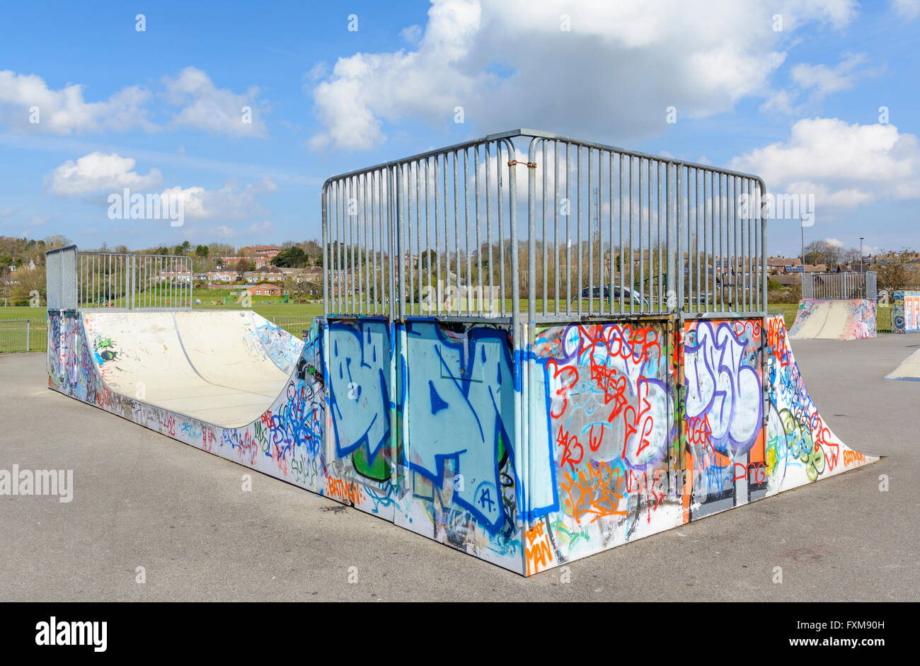 Skateboard ramp in a skatepark in Lewes, East Sussex, England, UK. - Stock Image