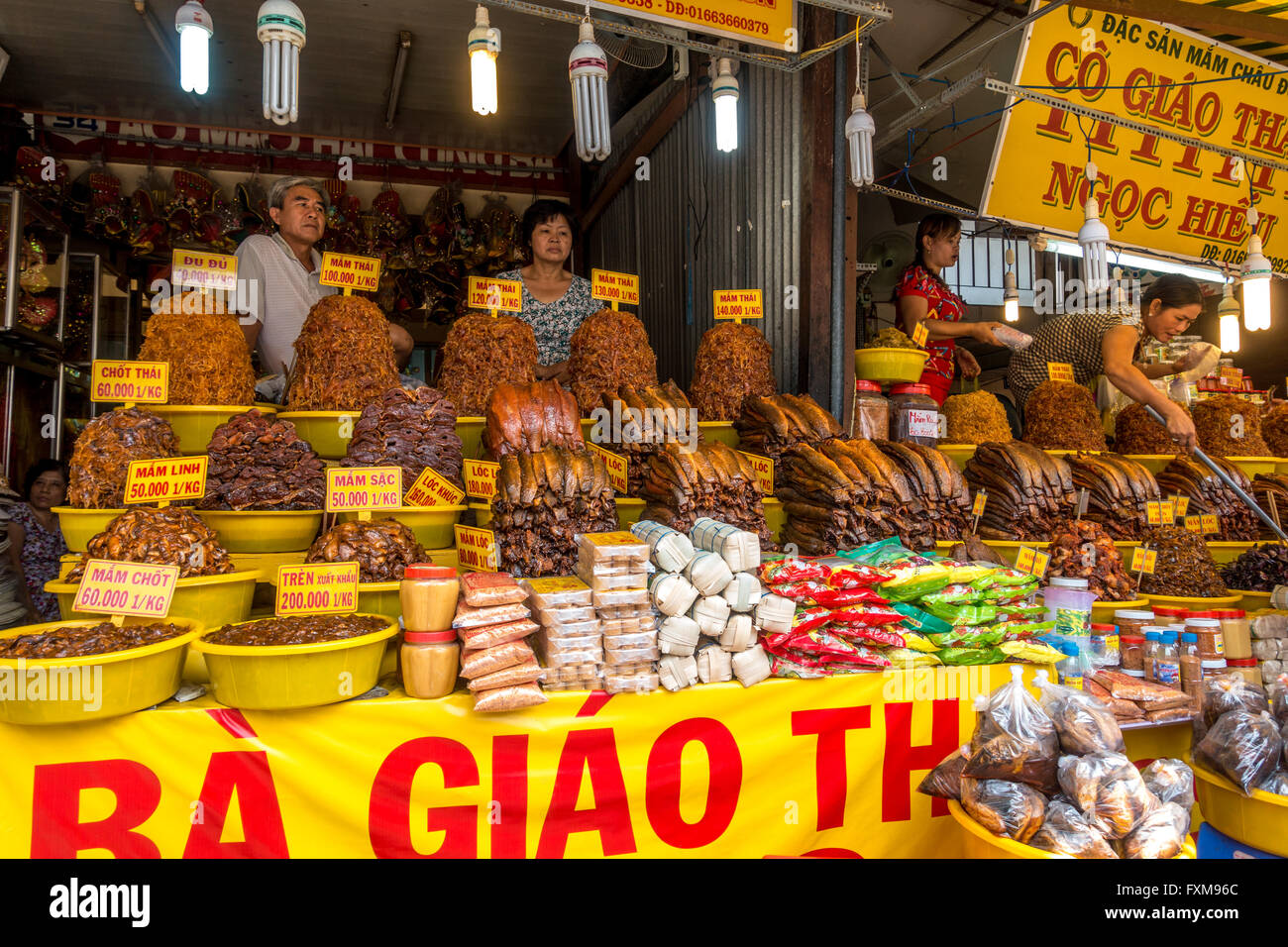 Dried meat and fish market stall on land at Chau Doc, Vietnam Stock Photo