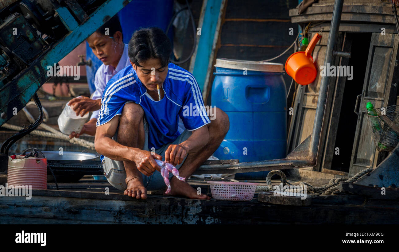 Daily life on a house boat - skinning toads to sell and eat; Chau Doc, Mekong Delta, Vietnam - Stock Image