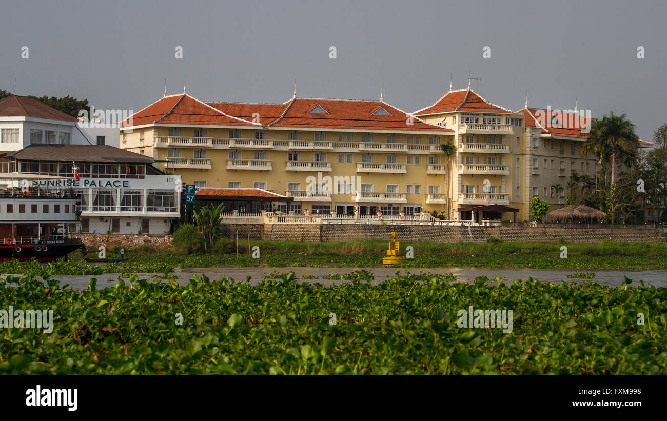 Views of the Victoria Chau Doc Hotel from the Mekong River, Chau Doc, Vietnam - Stock Image
