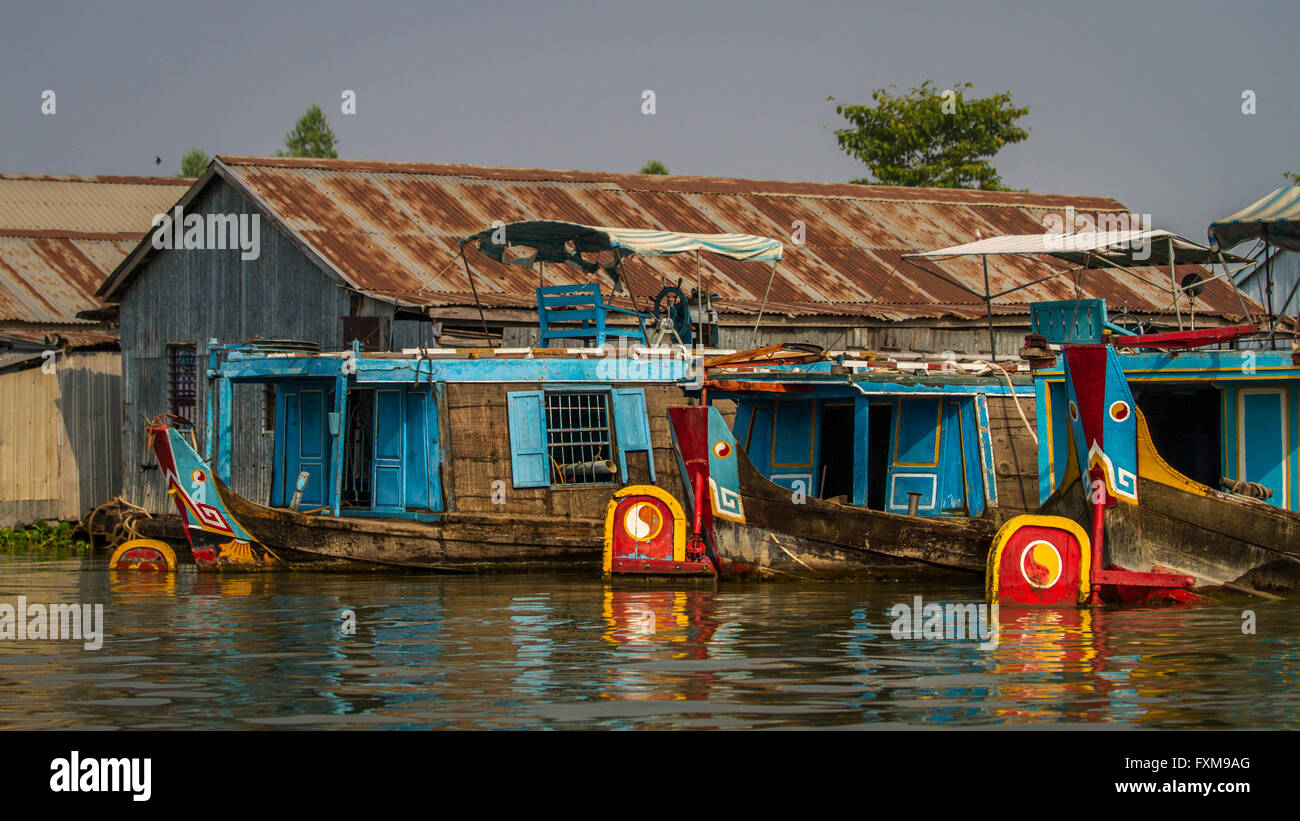 Brightly coloured fishing boats, Chau Doc, Vietnam Stock Photo