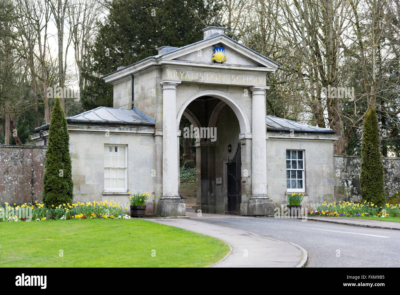 Bryanston School entrance and gateway in Blandford Forum Dorset UK - Stock Image