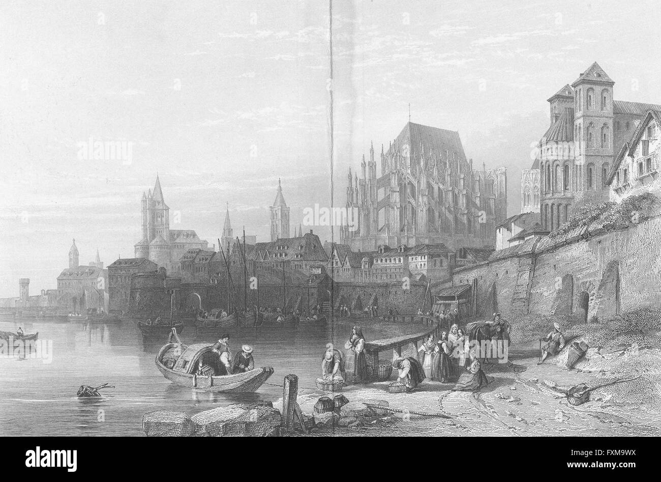 GERMANY: Cologne, Rhine: Leitch, antique print 1845 - Stock Image
