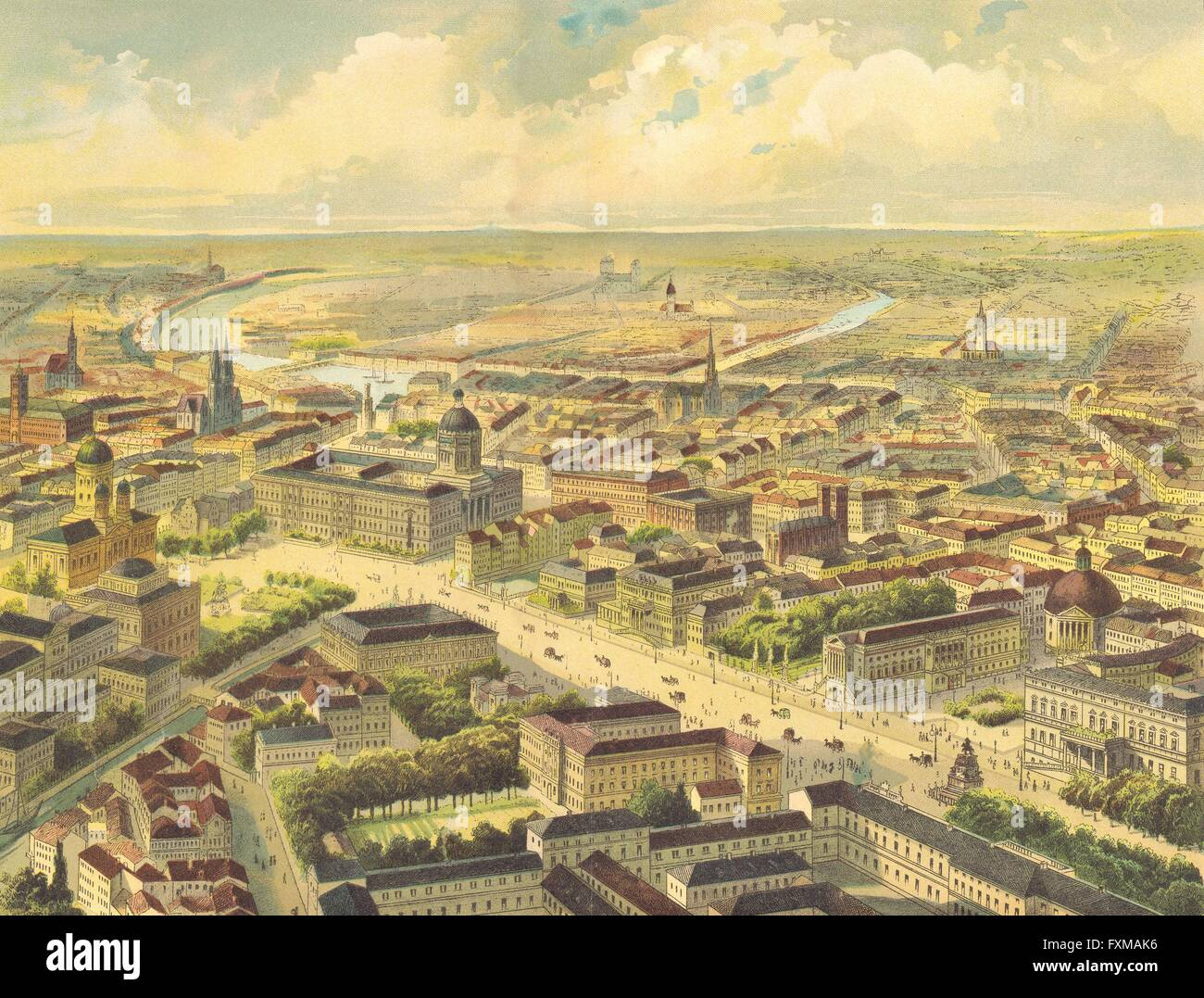 BERLIN: Walther Excellent large Chromolithograph, antique print 1880 - Stock Image