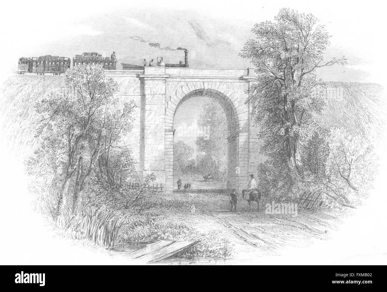 NORTHANTS: Blisworth viaduct trains, antique print 1860 - Stock Image