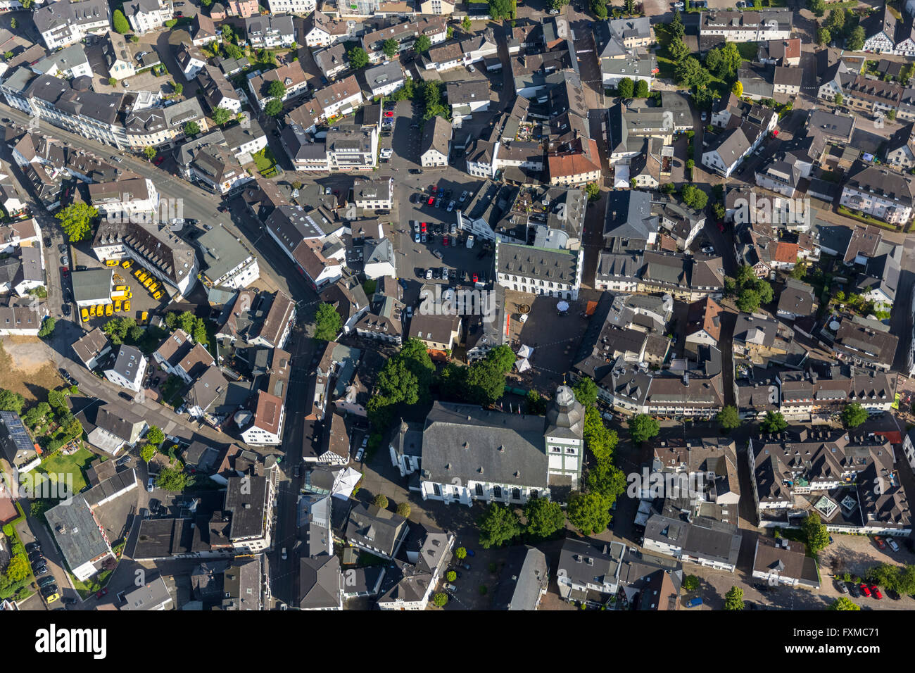 Aerial view, town center parish church of St. John Baptist, Attendorn, aerial, Burg Schnellenberg, Sauerland, Stock Photo