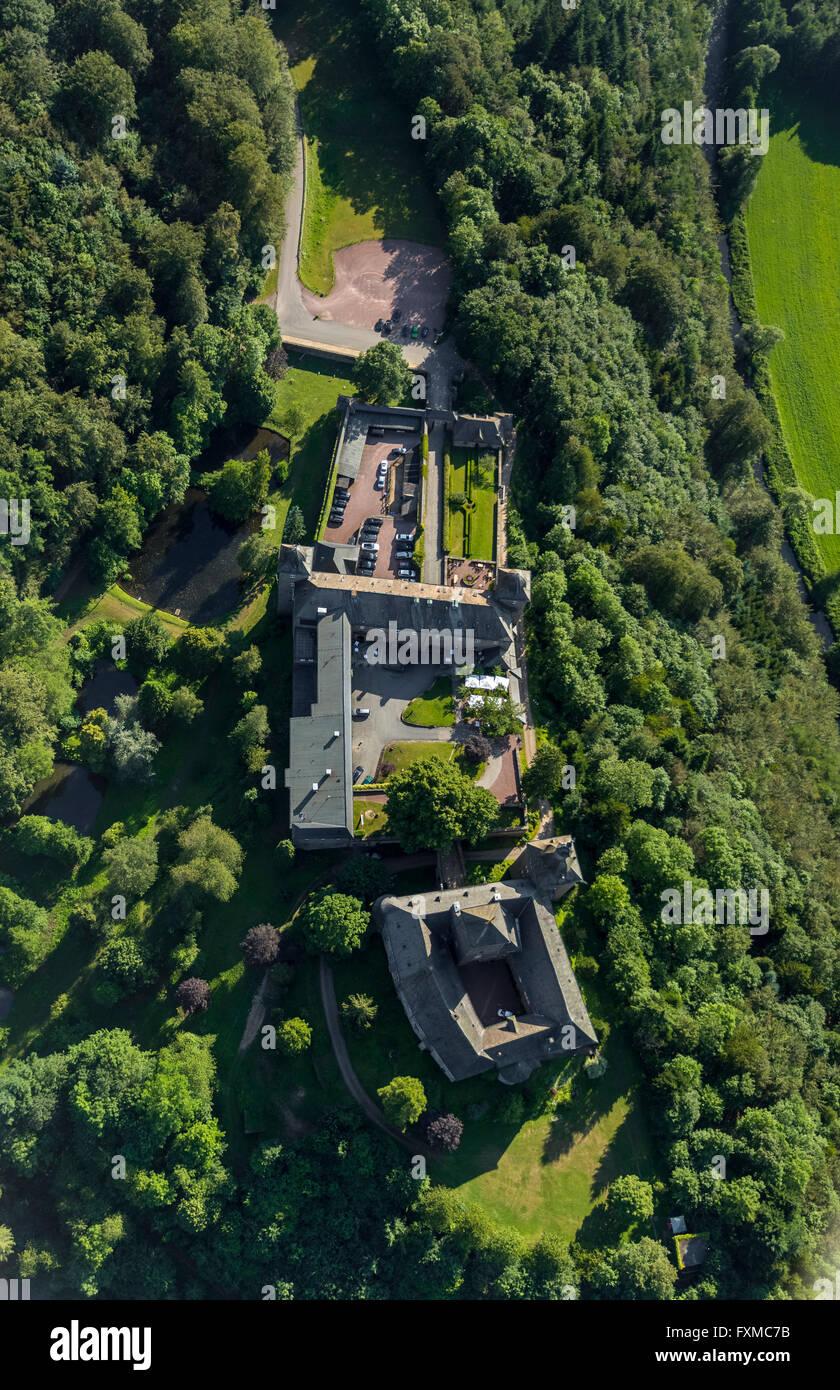 Aerial view, Hotel Burg Schnellenberg, aerial, Burg Schnellenberg, Sauerland, North Rhine-Westphalia, Germany, Europe, Stock Photo