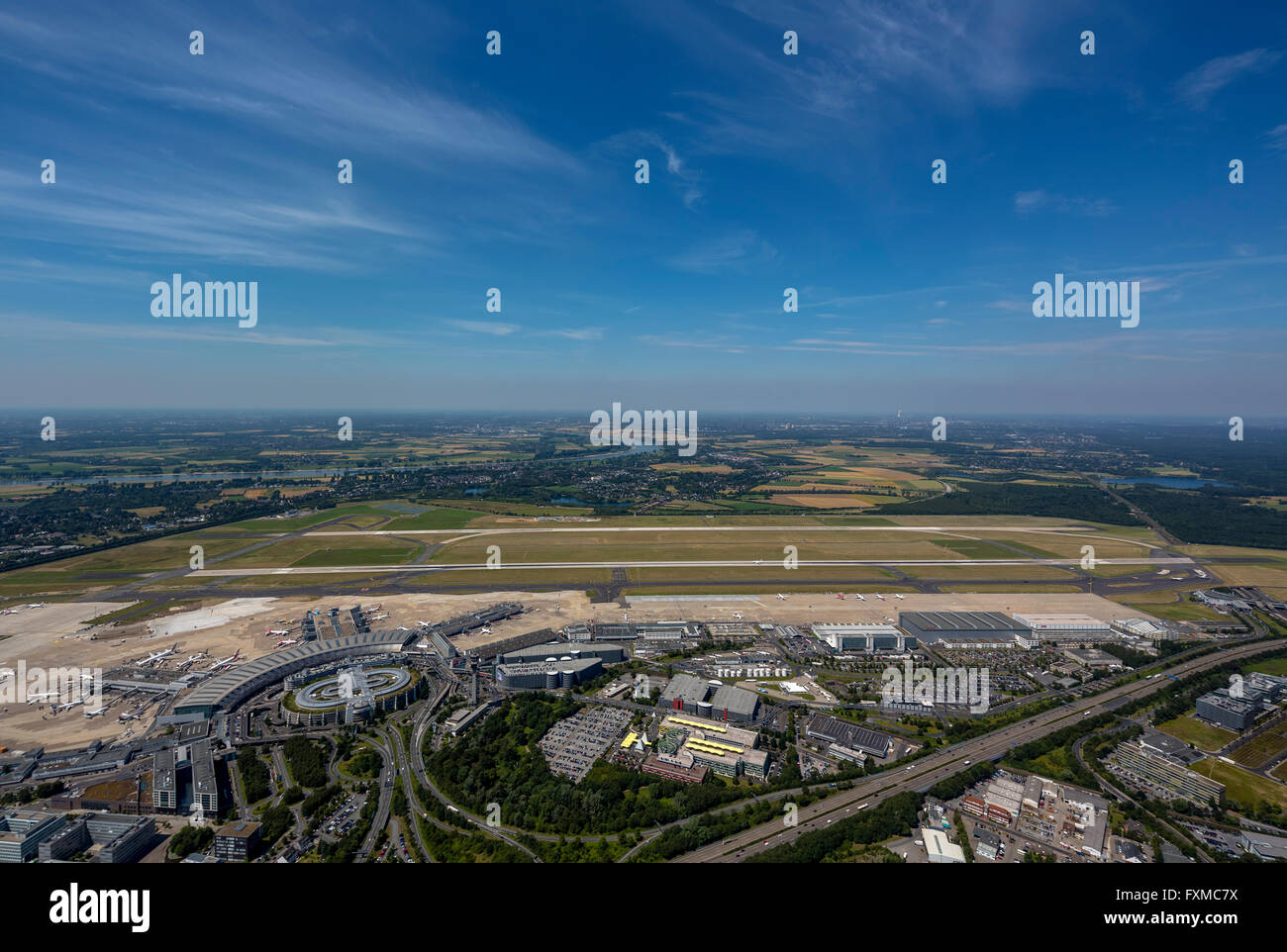 Aerial view, runways 23L 05R, freeway connection Düsseldorf International Airport, DUS, Dusseldorf Airport, - Stock Image