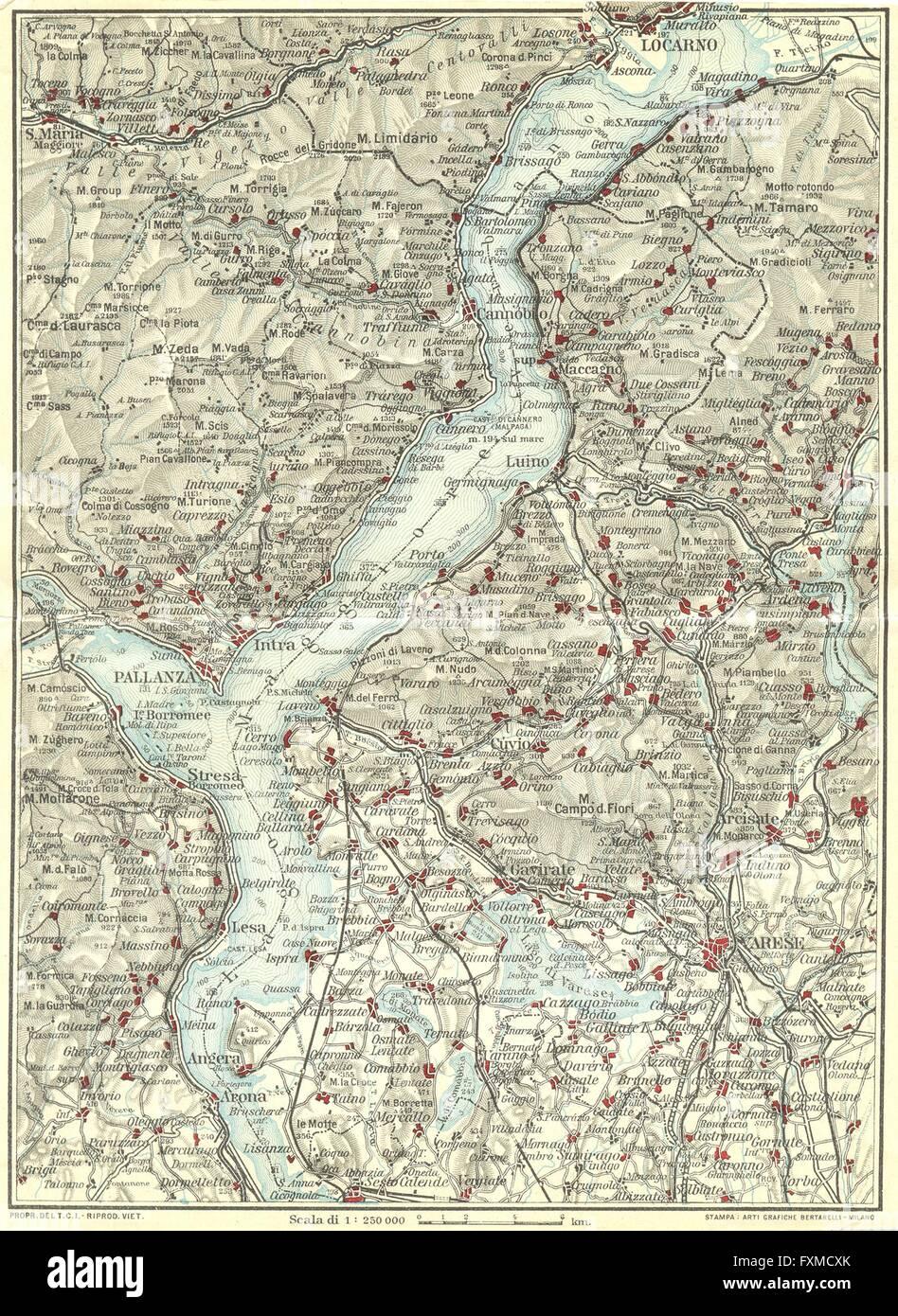 LAKE LAGO MAGGIORE. Locarno Varese Pallanza. Vintage map plan. Italy ...