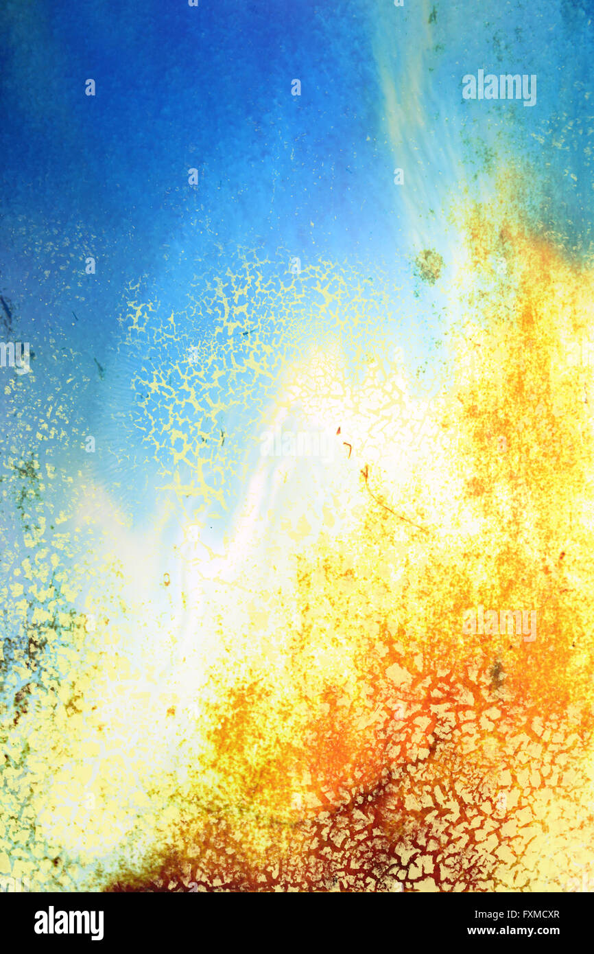 Old ragged wall: Abstract textured background with yellow, blue, and ...