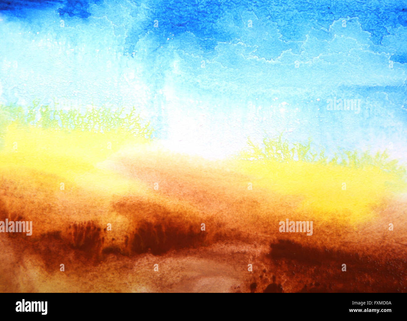 abstract watercolor textured background summer themed landscape