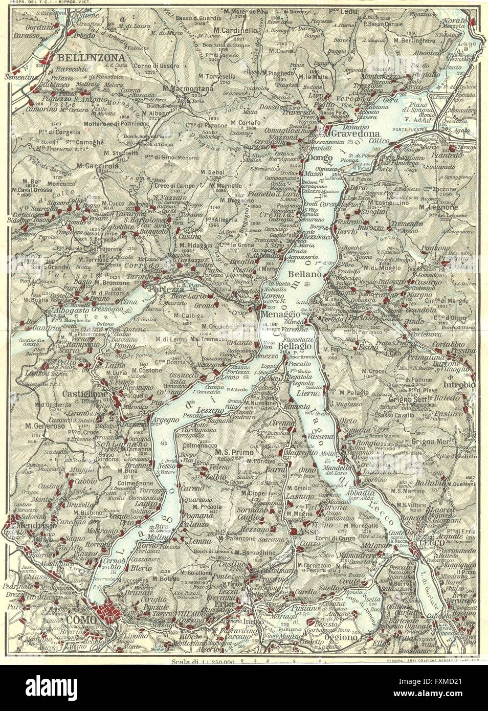 LAKE LAGO DI COMO Vintage map plan Bellinzona Lecco Italy 1927
