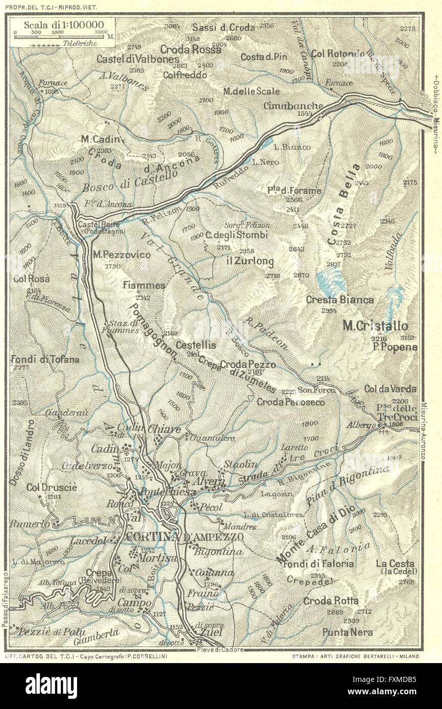 CORTINA D'AMPEZZO & ENVIRONS. Vintage topo map plan. Dolomites Italy on